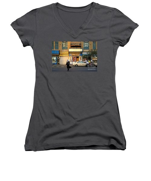 Street Scene In Teheran Iran Women's V-Neck (Athletic Fit)