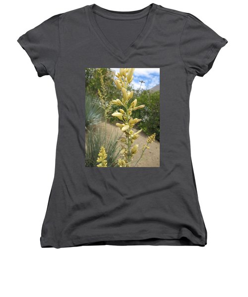 Women's V-Neck T-Shirt (Junior Cut) featuring the photograph 1 String Flowers    Photographed Las Vegas May 2014 by Navin Joshi