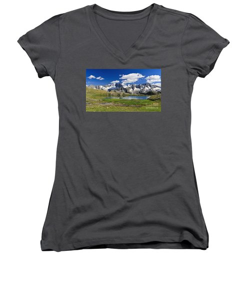Women's V-Neck T-Shirt (Junior Cut) featuring the photograph Strino Lake - Italy by Antonio Scarpi