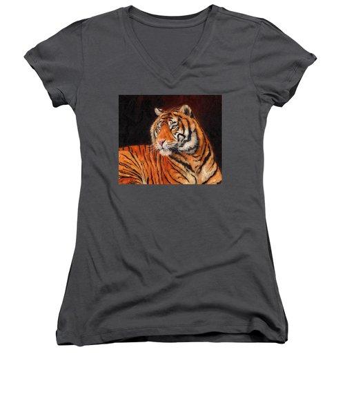 Sumatran Tiger  Women's V-Neck T-Shirt (Junior Cut) by David Stribbling