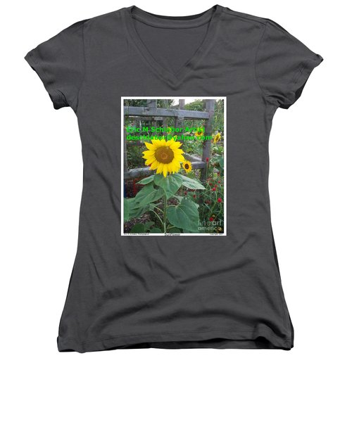 Sunflower Women's V-Neck T-Shirt (Junior Cut) by Eric  Schiabor