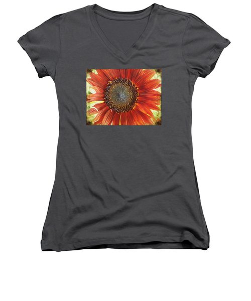 Women's V-Neck T-Shirt (Junior Cut) featuring the photograph Sunflower by Kathy Bassett