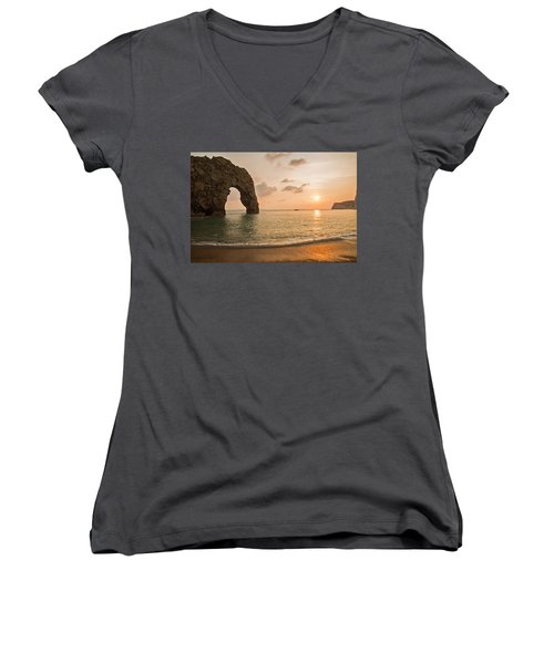 Sunset At Durdle Door Women's V-Neck