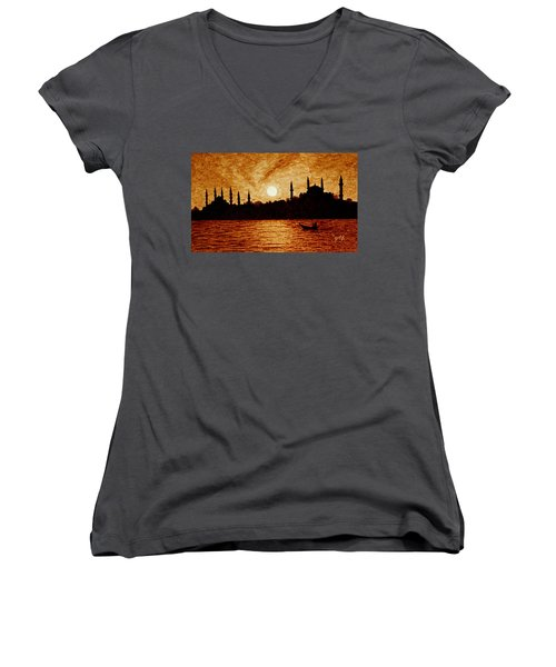 Women's V-Neck featuring the painting Sunset Over Istanbul Original Coffee Painting by Georgeta  Blanaru