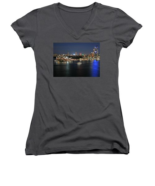 Sydney Harbor At Circular Quay Women's V-Neck T-Shirt (Junior Cut) by Ellen Henneke