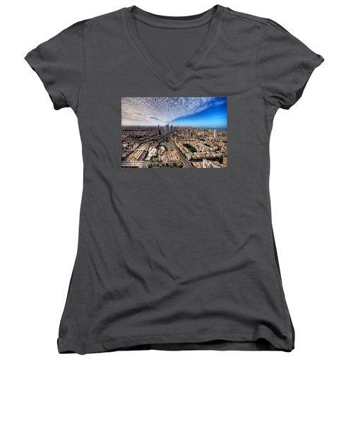 Women's V-Neck T-Shirt featuring the photograph Tel Aviv Skyline by Ron Shoshani