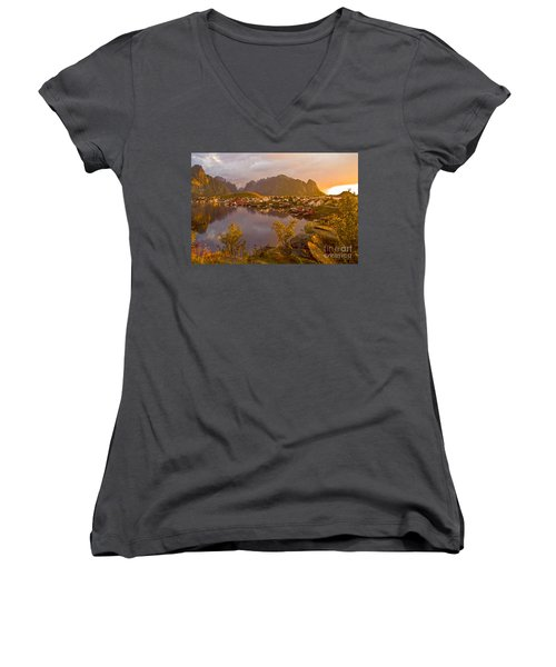 Women's V-Neck featuring the photograph The Day Begins In Reine by Heiko Koehrer-Wagner