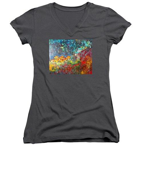 Beach House Women's V-Neck T-Shirt (Junior Cut) by George Riney