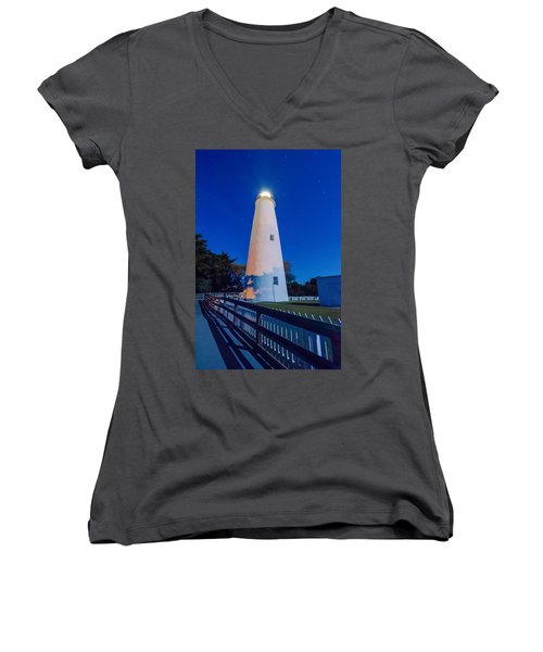 The Ocracoke Lighthouse On Ocracoke Island On The North Carolina Women's V-Neck (Athletic Fit)