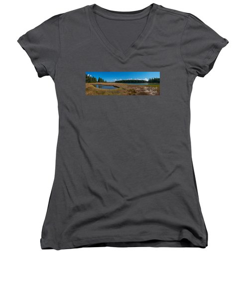 Thompson Island In Maine Panorama Women's V-Neck T-Shirt (Junior Cut)