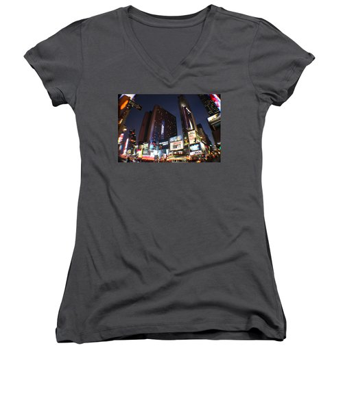 Times Square Nyc Women's V-Neck T-Shirt (Junior Cut) by Rogerio Mariani