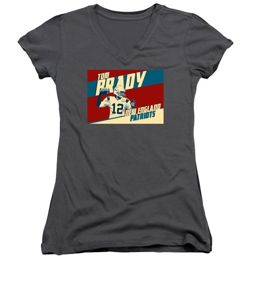 Tom Brady Women's V-Neck T-Shirt (Junior Cut) by Taylan Apukovska