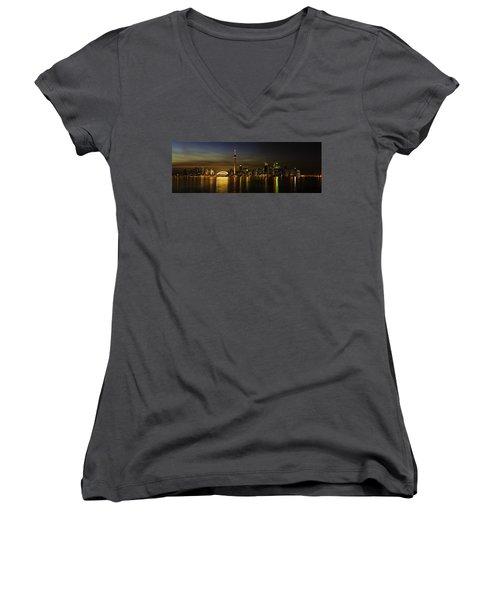 Toronto Evening Sky Line Panorama Women's V-Neck T-Shirt