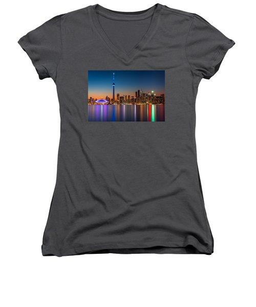 Toronto Skyline At Dusk Women's V-Neck