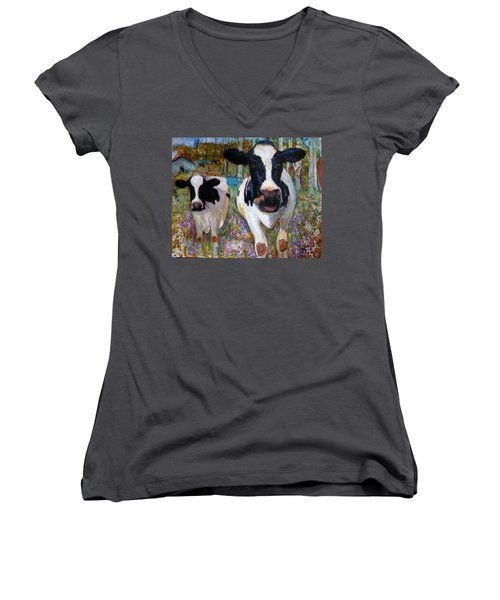 Up Front Cows Women's V-Neck (Athletic Fit)
