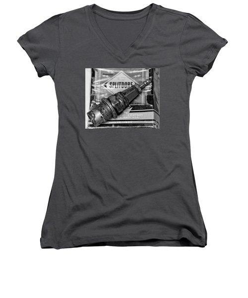 Vintage Sparkplugs Women's V-Neck T-Shirt (Junior Cut) by Wilma  Birdwell