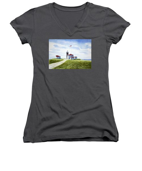 Watch Hill Ri Lighthouse Women's V-Neck (Athletic Fit)