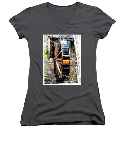 Women's V-Neck T-Shirt (Junior Cut) featuring the photograph Water Wheel by Tara Potts
