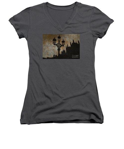 Women's V-Neck T-Shirt (Junior Cut) featuring the digital art Westminster Silhouette by Matt Malloy