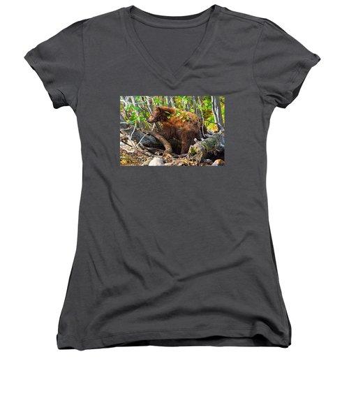 Where The Wild Things Are Women's V-Neck T-Shirt (Junior Cut) by Scott Warner