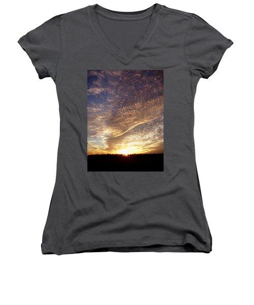 Wild Sky 2 Women's V-Neck T-Shirt (Junior Cut) by Cynthia Lassiter