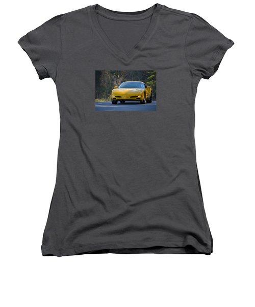 Yellow Corvette Women's V-Neck T-Shirt (Junior Cut) by Mike Martin