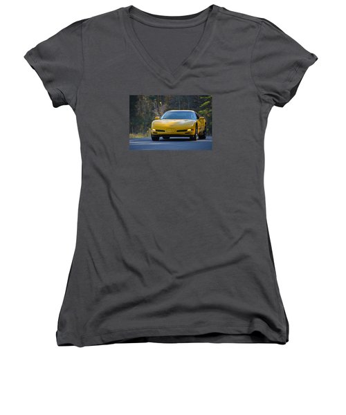 Yellow Corvette Women's V-Neck (Athletic Fit)