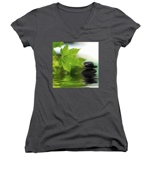 Zen Stones On Water Women's V-Neck T-Shirt