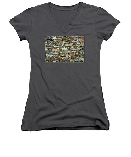 Women's V-Neck T-Shirt (Junior Cut) featuring the painting 100 Painting Collage by Jennifer Lake