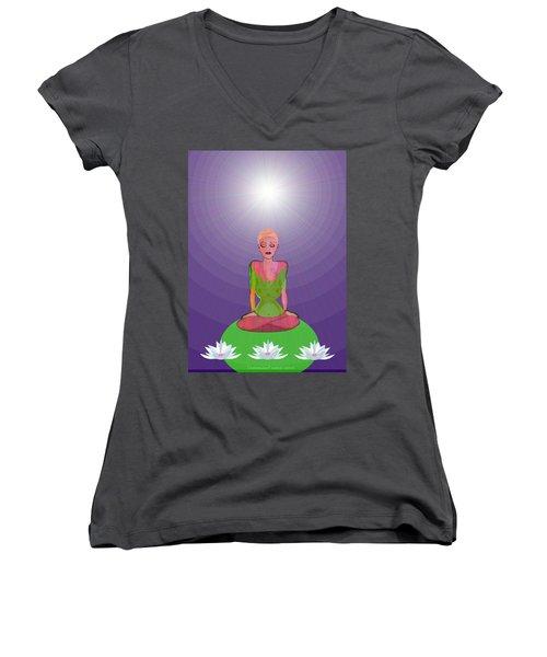 1026 - Lotus Women's V-Neck T-Shirt (Junior Cut) by Irmgard Schoendorf Welch