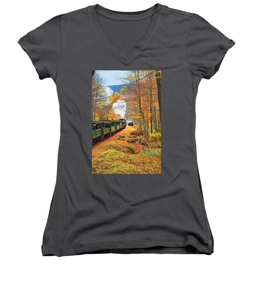 Cass Scenic Railroad Women's V-Neck T-Shirt (Junior Cut) by Mary Almond