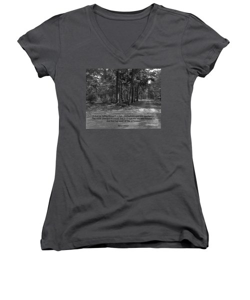 12a- Robert Frost  Women's V-Neck T-Shirt (Junior Cut) by Joseph Keane