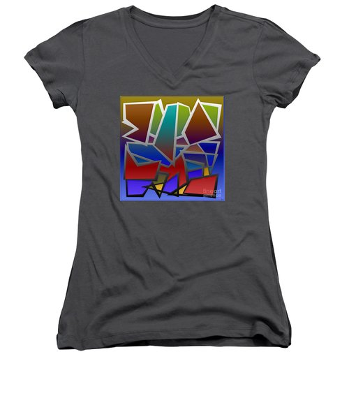 1624 Abstract Thought Women's V-Neck T-Shirt