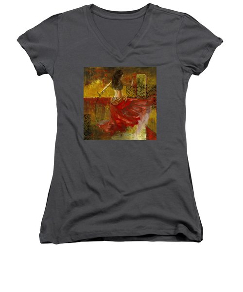 Abstract Belly Dancer 6 Women's V-Neck T-Shirt (Junior Cut) by Corporate Art Task Force
