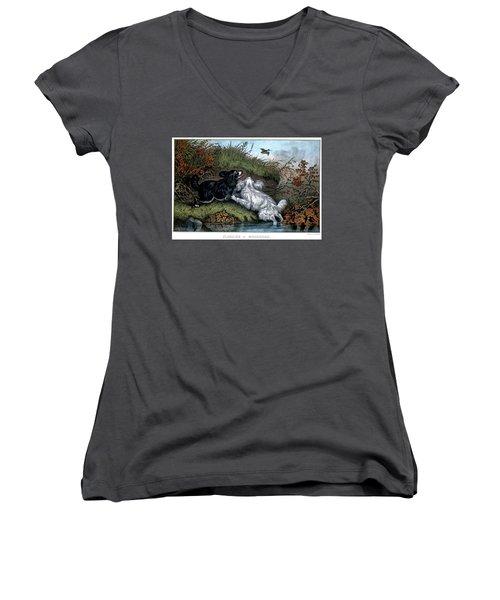 1860s Two Spaniel Dogs Flushing Women's V-Neck T-Shirt