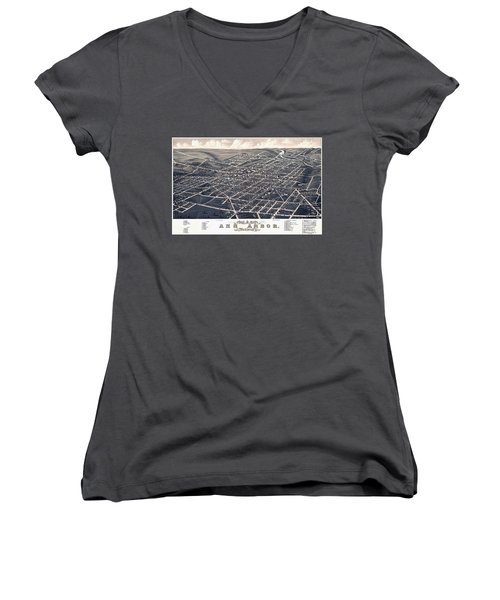 1880 Birds Eye Map Of Ann Arbor Women's V-Neck T-Shirt (Junior Cut) by Stephen Stookey
