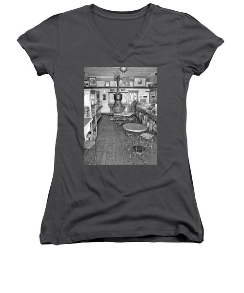1880 Drug Store Black And White Women's V-Neck T-Shirt (Junior Cut) by Ken Smith