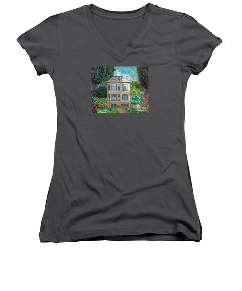 Women's V-Neck T-Shirt (Junior Cut) featuring the mixed media Alameda 1895 Quenn Anne by Linda Weinstock