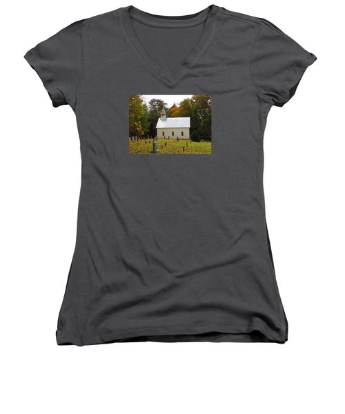 Cade's Cove 1902 Methodist Church Women's V-Neck T-Shirt