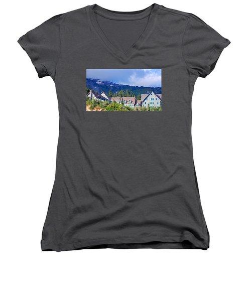 1916 Paradise Inn. Mount Rainier National Park Women's V-Neck T-Shirt