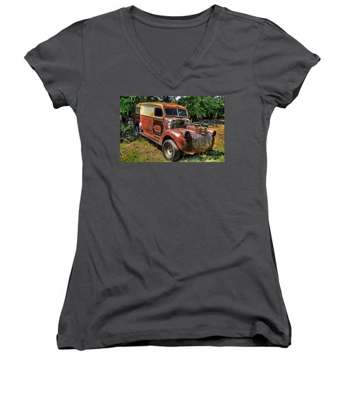 Women's V-Neck T-Shirt (Junior Cut) featuring the photograph 1941 Chevy Van by Paul Mashburn