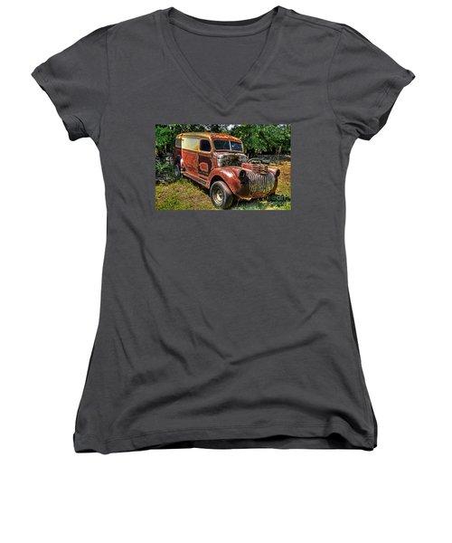 1941 Chevy Van Women's V-Neck T-Shirt (Junior Cut) by Paul Mashburn