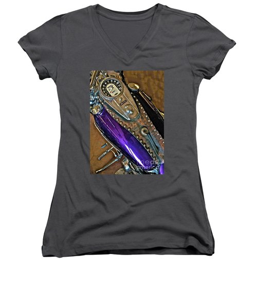 1953 Purple Harley Panhead Women's V-Neck (Athletic Fit)