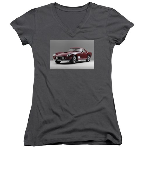 1956 Ferrari Gt 250 Tour De France Women's V-Neck T-Shirt (Junior Cut) by Gianfranco Weiss