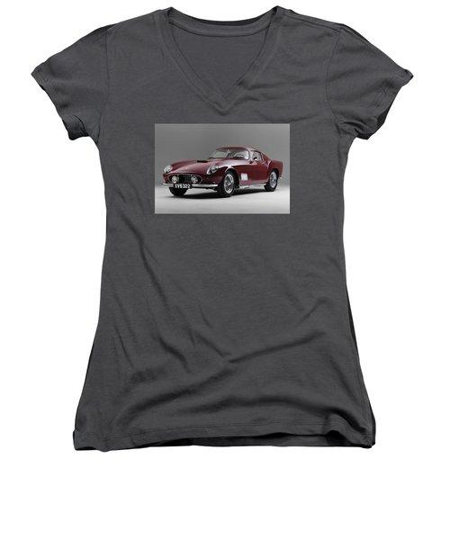 1956 Ferrari Gt 250 Tour De France Women's V-Neck T-Shirt
