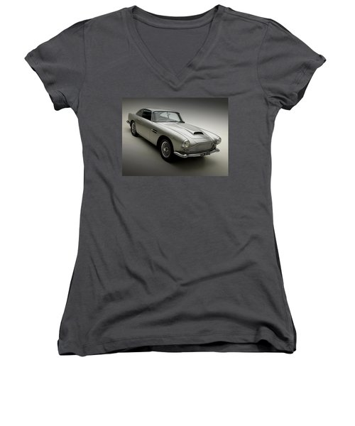 Women's V-Neck T-Shirt (Junior Cut) featuring the photograph 1958 Aston Martin Db4 by Gianfranco Weiss