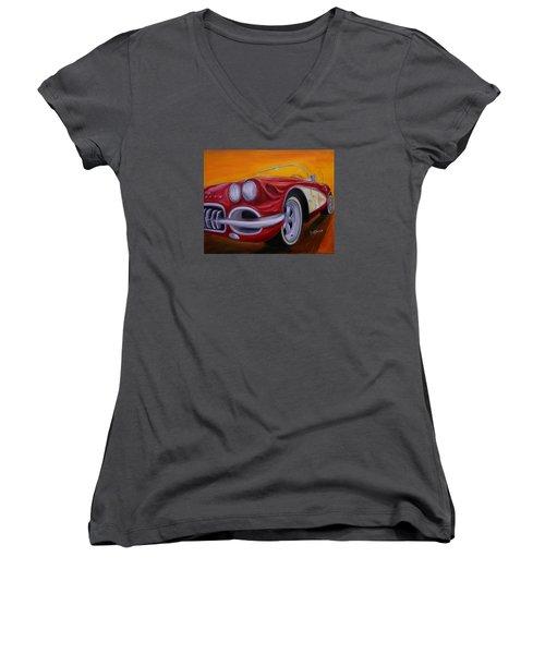 1960 Corvette - Red Women's V-Neck T-Shirt