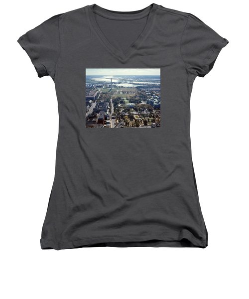 1960s Aerial View Washington Monument Women's V-Neck (Athletic Fit)
