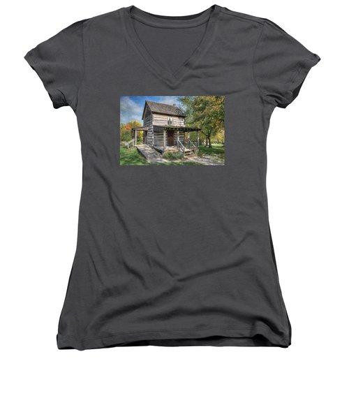 19th Century Cabin Women's V-Neck T-Shirt