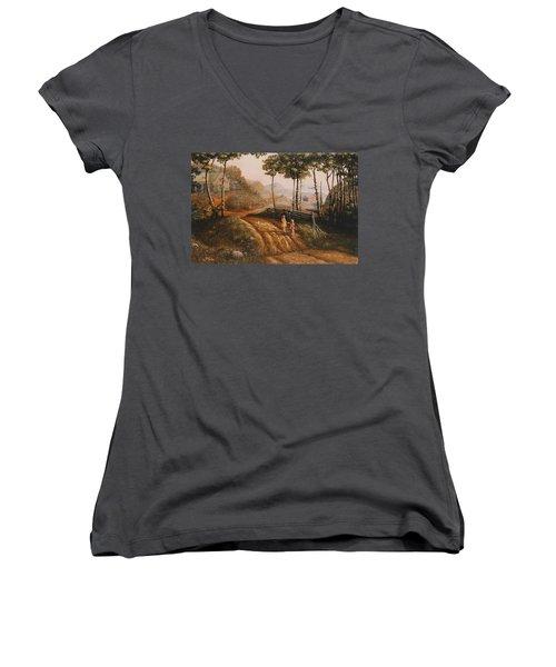 A Country Lane Women's V-Neck T-Shirt (Junior Cut) by Duane R Probus